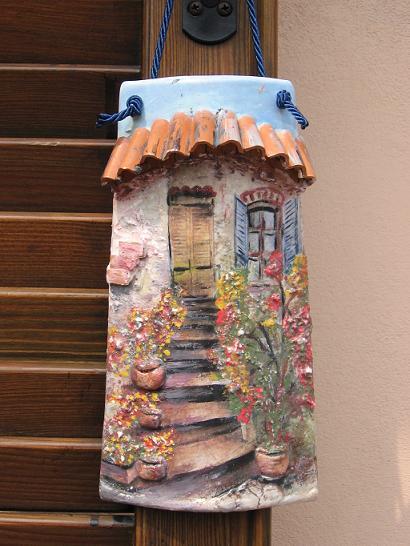 D coupage tegola di pogliani marita - Coppi decorati in rilievo ...